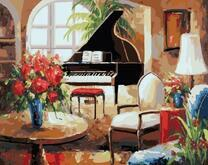 Картина по номерам 40x50 Шикарный рояль посреди зала