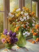 3 вазы с цветами