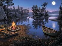 Костёр у вечерней реки