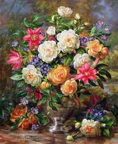 Картина по номерам 40x50 Дачный букет в бронзовой чаше