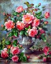 Картина по номерам 30x40 Множество роз в вазе