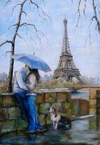 Картина по номерам 30x40 Поцелуй возле башни