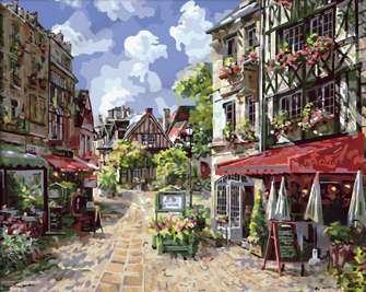 Картина по номерам 40x50 Каменная торговая улица