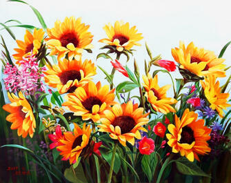 Картина по номерам 30x40 Рыжие цветы