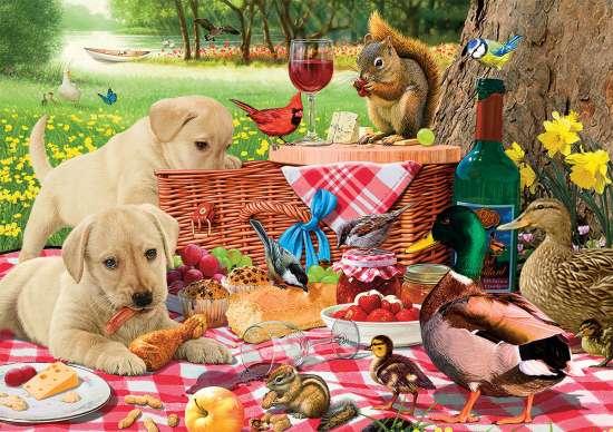 Алмазная мозаика 30x40 Пикник для животных и птиц