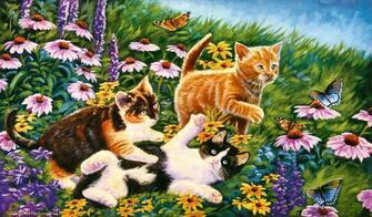 Картина по номерам 40x50 Котята на лугу