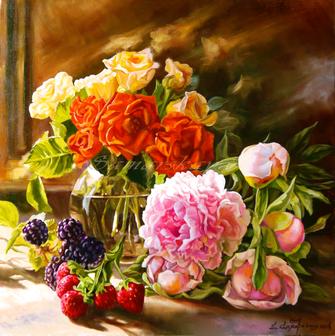 Картина по номерам 40x50 Цветочно-ягодное счастье