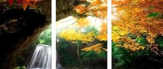 Триптих по номерам 40x50x3 Осенние листья, водопад