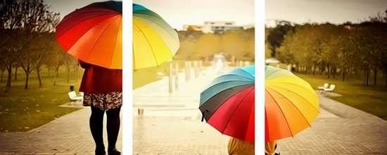 Триптих по номерам 40x50x3 Цветные зонтики