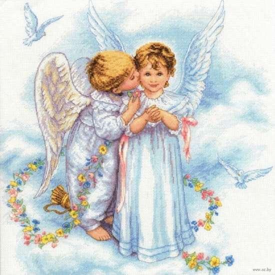 Алмазная мозаика 40x50 Два ангелочка и голуби