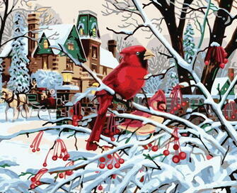 Картина по номерам 40x50 Красная птица