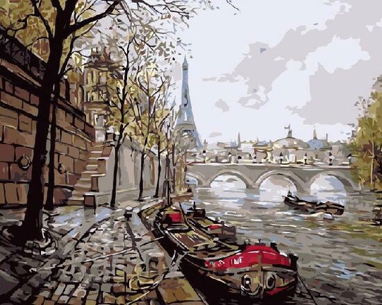 Картина по номерам 40x50 Осень в Париже