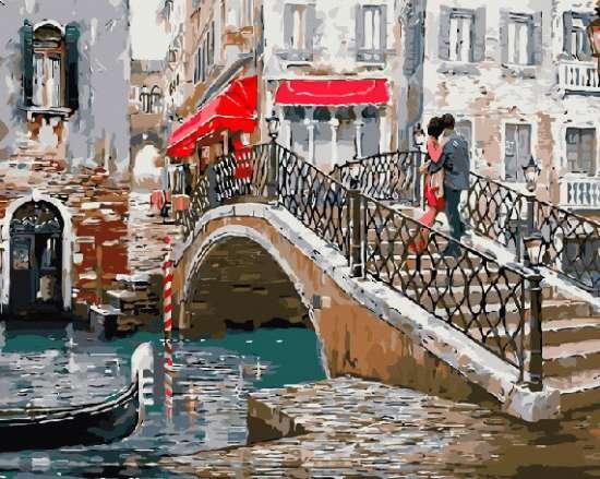 Картина по номерам 40x50 Влюбленные на мосту в Венеции