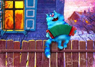 Картина по номерам 40x50 Кот поет песни на заборе