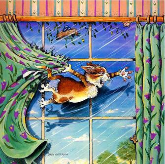 Картина по номерам 40x50 Кошка на шторах