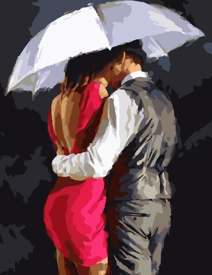 Картина по номерам 40x50 Пара под зонтом