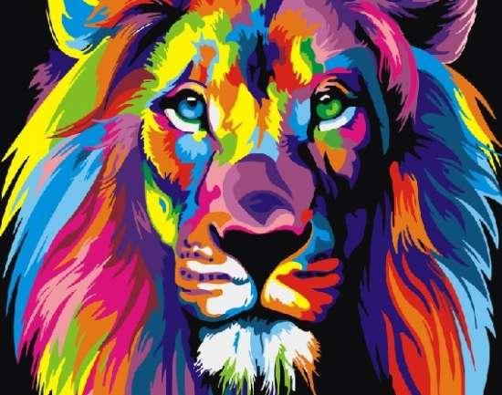 Картина по номерам 40x50 Радужный царь-лев
