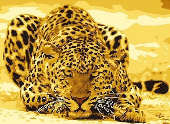Картина по номерам 40x50 Леопард на желтом фоне