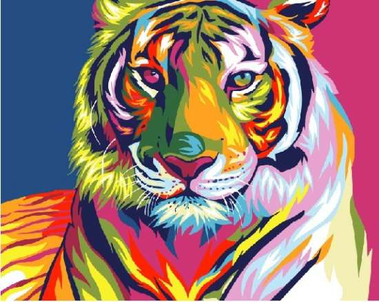 Картина по номерам 40x50 Яркий тигр