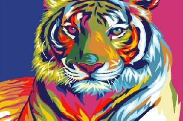 Картина по номерам 20x30 Радужный тигр