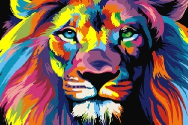Картина по номерам 20x30 Радужный царь зверей