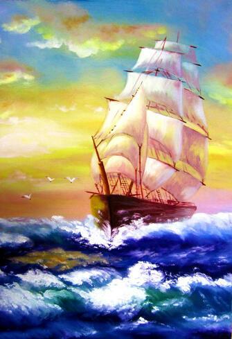 Картина по номерам 40x50 Парусник на синих волнах