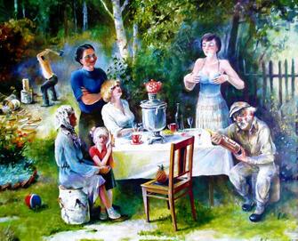 Картина по номерам 40x50 Семейный разговор