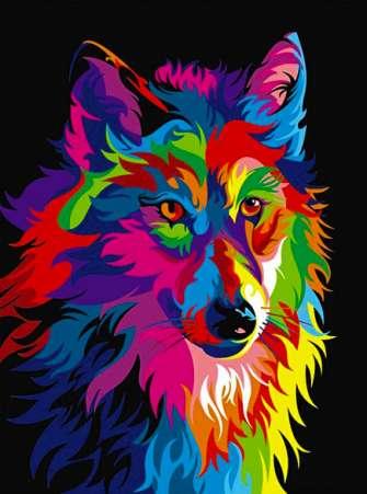 Рисование по дереву 40x50 Цветной волк
