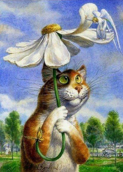 Картина по номерам 40x50 Кот под зонтом из ромашки