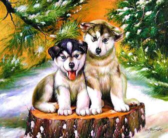 Картина по номерам 40x50 Милые щенки