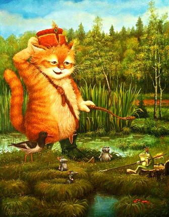 Картина по номерам 40x50 Рыжий кот на рыбалке с друзьями