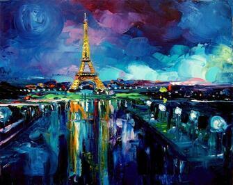 Картина по номерам 40x50 Ночные огни Парижа