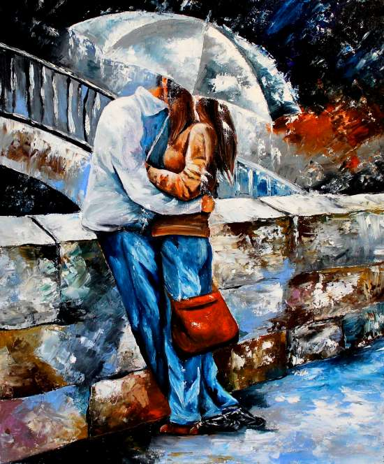 Картина по номерам 40x50 Пара целуется под белым зонтом