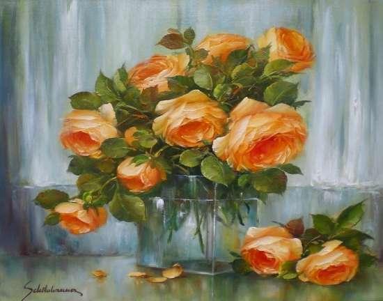 Картина по номерам 40x50 Оранжевые розы