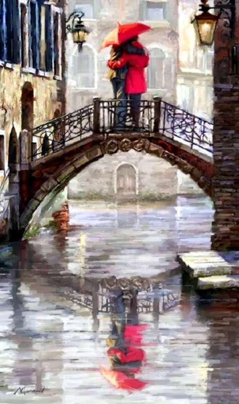 Картина по номерам 40x50 Встреча над животом моста