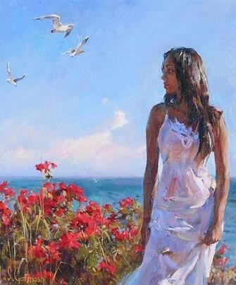 Картина по номерам 40x50 Девушка в белом
