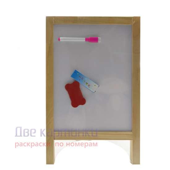 Мольберт настольный Детская доска мольберт для рисования Пифагор, маленькая, двусторонняя, 19x30 см