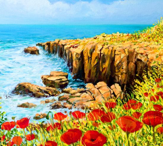 Картина по номерам 40x50 Маки возле моря