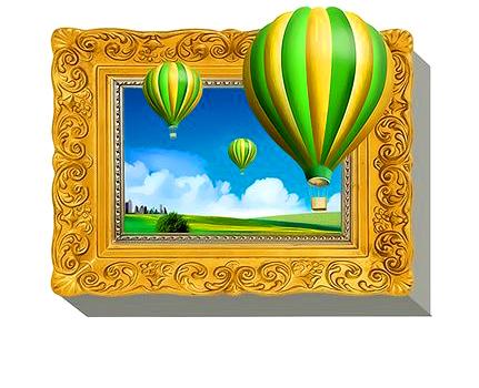 3Д Раскраска по номерам 40x50 Зелено-желтые воздушные шары в золотой рамке