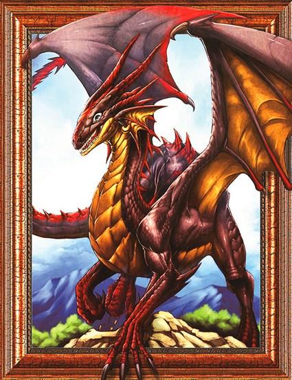 Алмазная мозаика 3D 40x50 Огненный дракон на вершине горы