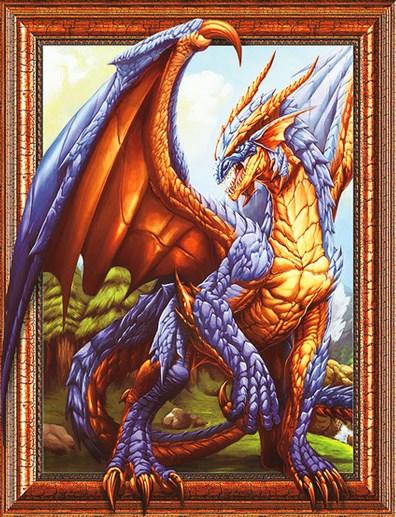 Алмазная мозаика 3D 40x50 Синий дракон