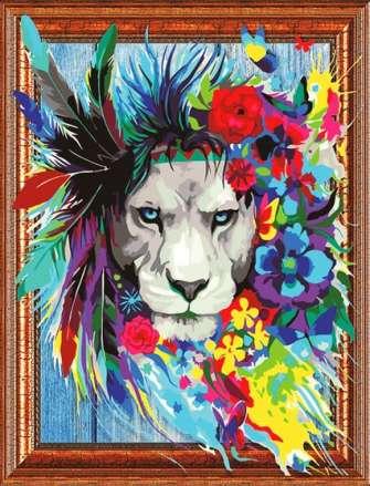 Алмазная мозаика 3D 40x50 Лев в цветах и перьях