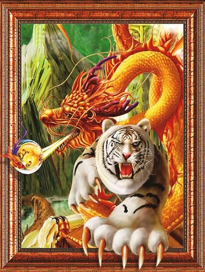 Алмазная мозаика 3D 40x50 Дракон и белый тигр