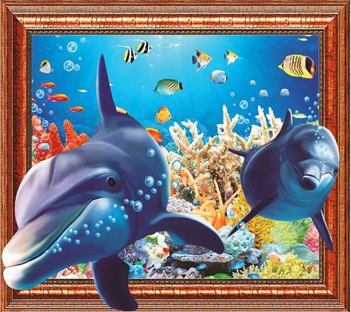 Алмазная мозаика 3D 40x50 Два дельфина в красотах подводного мира