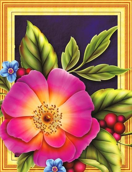 Алмазная мозаика 3D 40x50 Цветочно-ягодный натюрморт