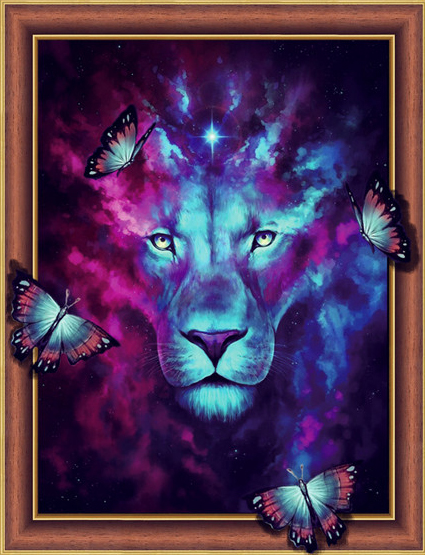 Алмазная мозаика 3D 40x50 Звездный лев и бабочки
