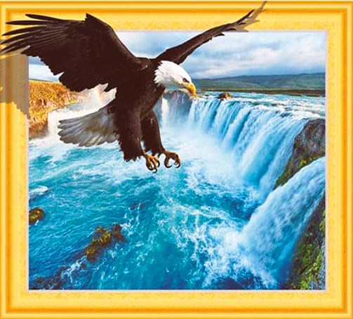 Алмазная мозаика 3D 40x50 Орел над Ниагарским водопадом