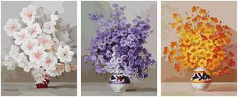 Триптих по номерам 40x50x3 Триптих из цветочков