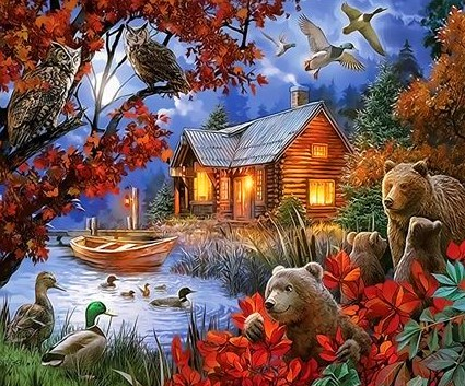 Картина по номерам 40x50 Семья медведей в лесу у озера