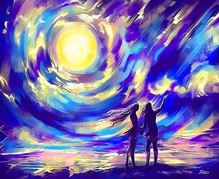 Картина по номерам 40x50 Пара любуется морем на восходе